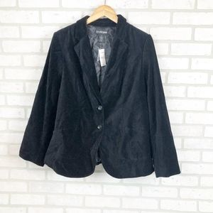 Lane Bryant Black Velvet 2 Button Blazer Size 16